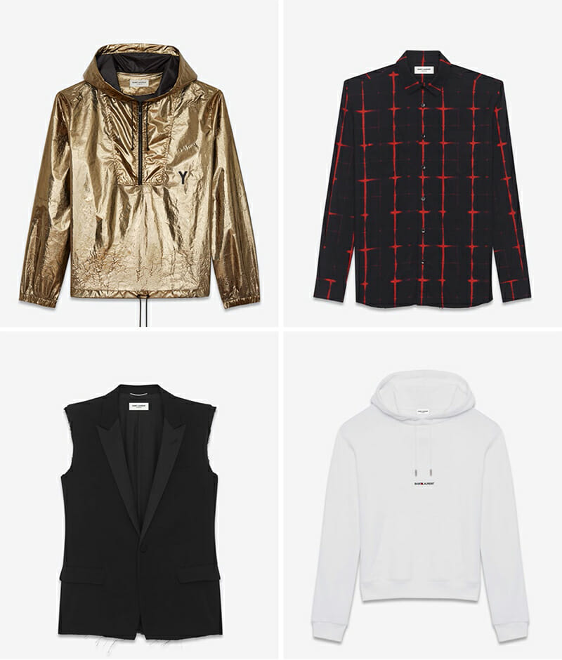 Left to right, top to bottom: Metallic Bronze Hooded Lightweight Anorak, Signature Black and Red Tie Dye Plaid Yves Collar Shirt, Classic Black Single-Breasted Sleeveless Jacket, White Saint Laurent Signature Hoodie