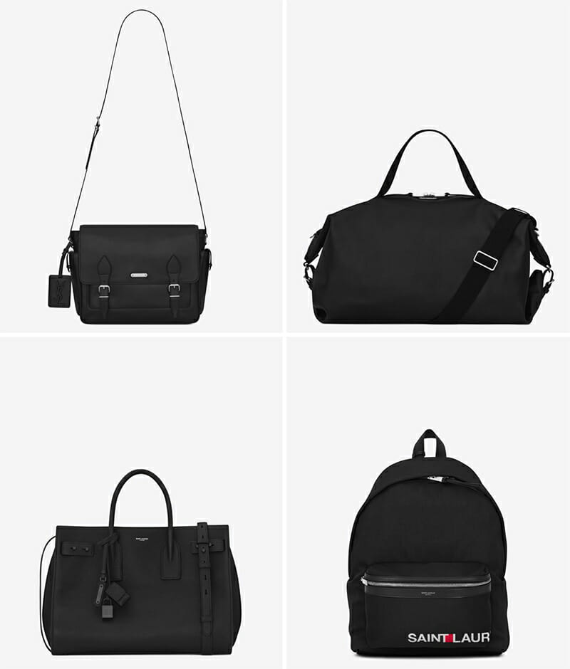 Left to right, top to bottom: ID Messenger Bag in Black, Large ID Convertible Bag in Black Leather, Medium Supple Sac de Jour Bag in Black, Giant City Saint Laurent Print Backpack in Black
