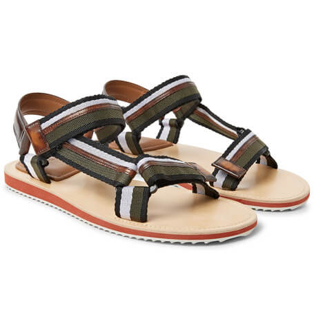 Berluti Striped Leather Sandals