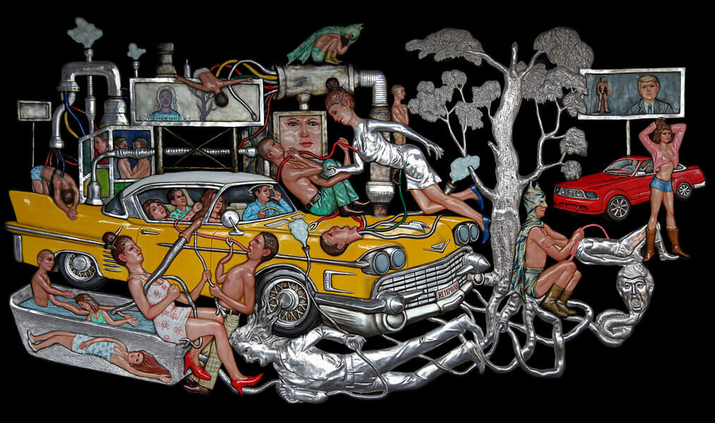 Entang Wiharso, Dream Land and the Traveler, 2016, 330 x 182 cm, aluminum, resin, colour pigment, thread, car paint, Image credit CAN'S Gallery