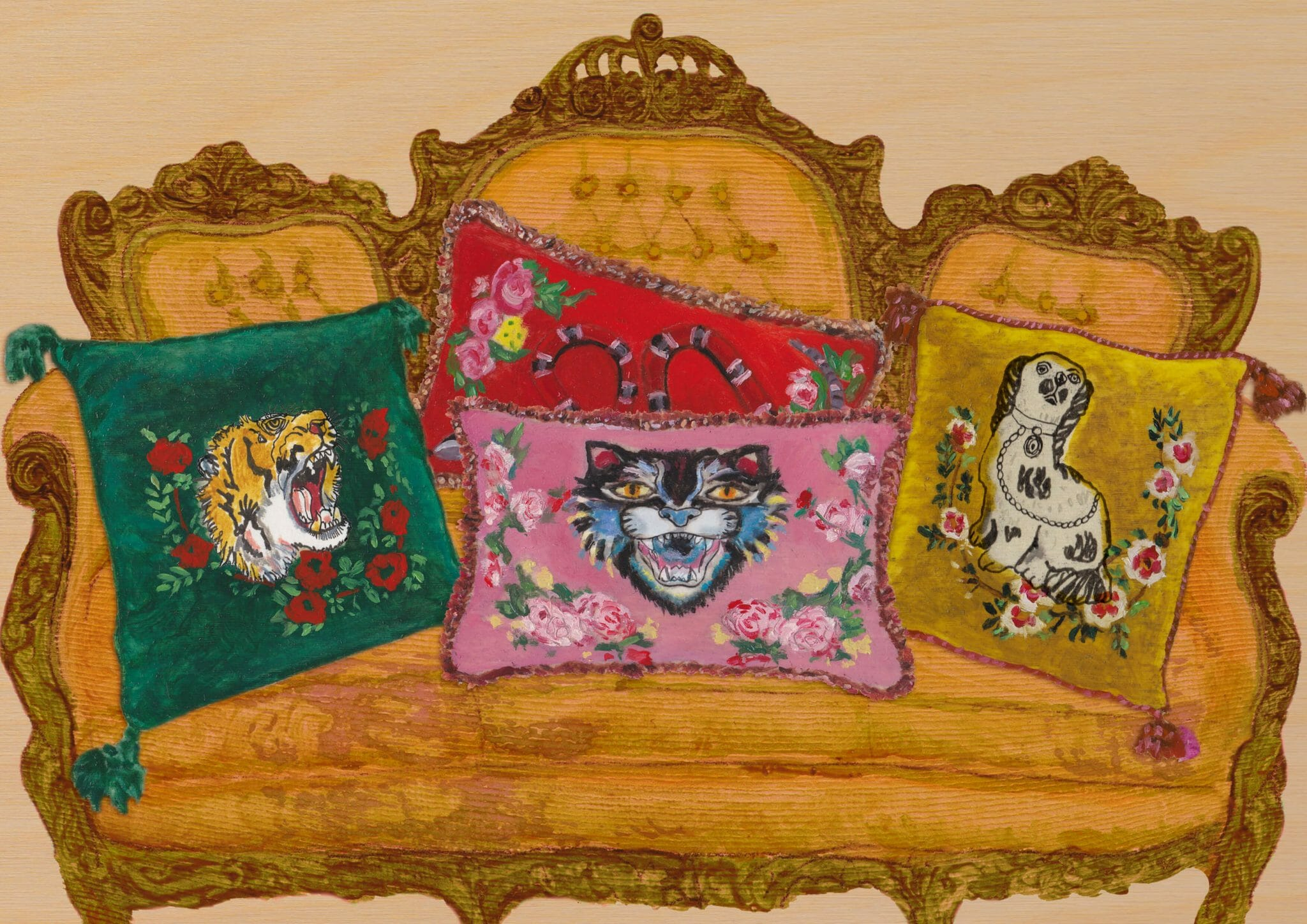 Velvet cushions from the Gucci Décor collection feature motifs including the Angry Cat, tiger head and Kingsnake. The embroidery and hand-application takes approximately 10 hours to complete.