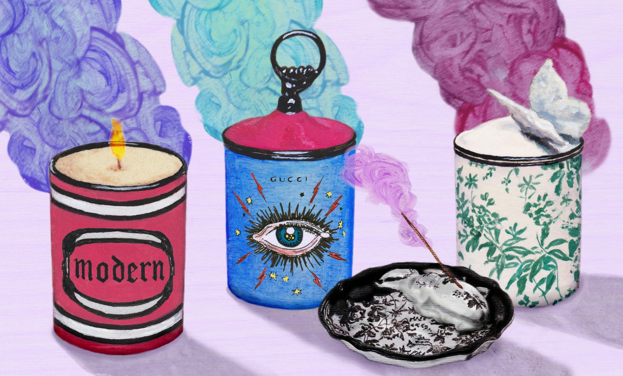 Crafted from porcelain and produced by Richard Ginori, a renowned Florentine company founded in 1735, the Gucci Décor scented candles and incense burners are adorned with the house's motifs. Gucci's Herbarium print, inspired by a vintage fabric, also appears on porcelain mugs and scented candles.
