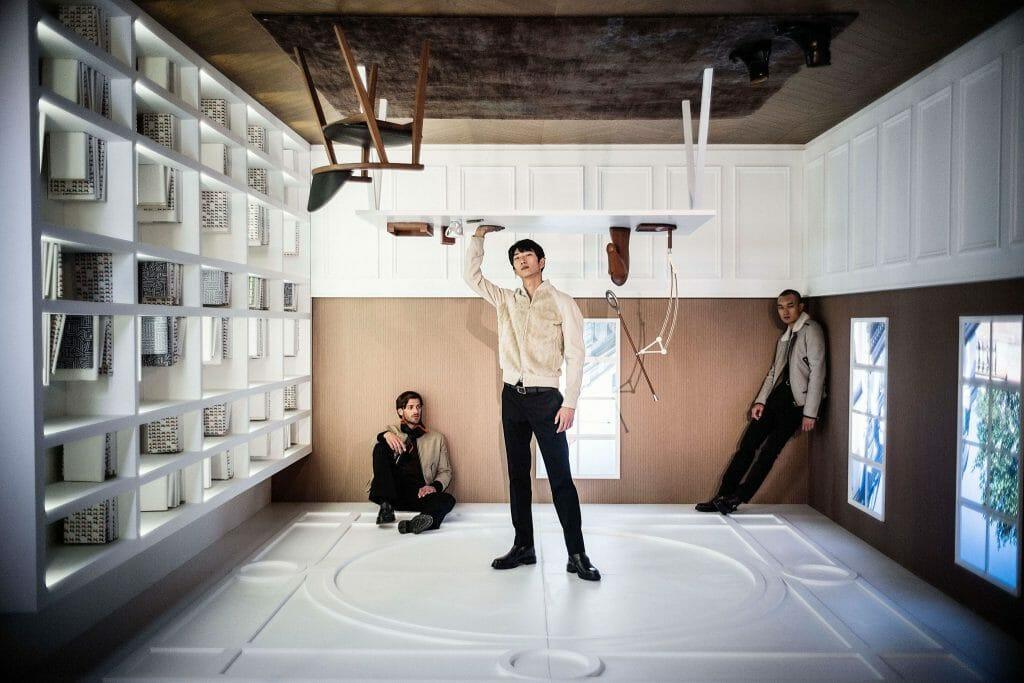 """Hermès stages """"Men Upside Down"""" Exhibition at Kai Tak, Hong Kong"""