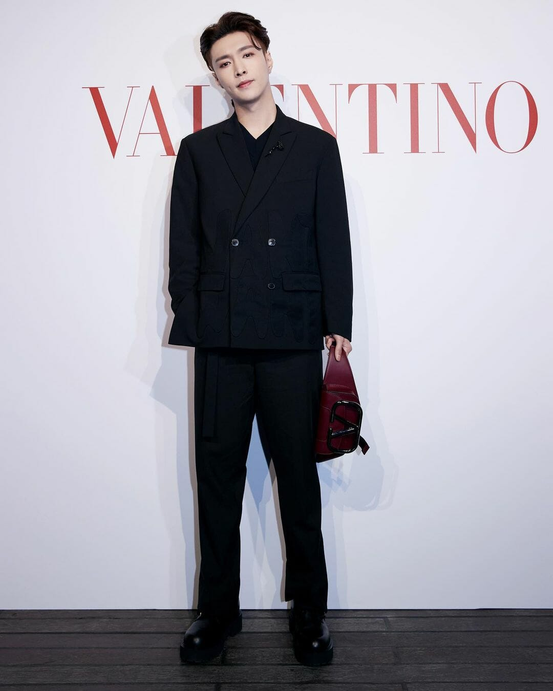 Lay Zhang Brings the Black Suit Trend Back Valentino Spring Summer 2021