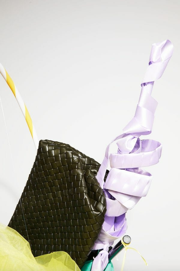 Artist Stephanie Jane Burt Turns Bottega Veneta's Accessories into Whimsical Sculptures Bottega Veneta The Clasp Intrecciato leather document.
